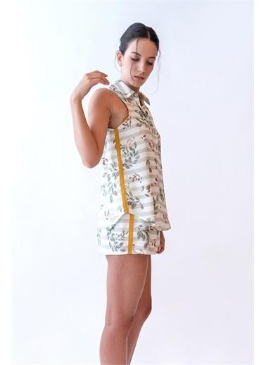 Hays Hays 29618B132 Gömlek Yaka Yaprak Desenli Kolsuz Dokuma Krem Kadın Üst Yeşil